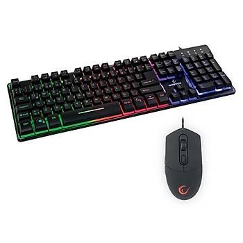 Rampage KM-RX9 Gökkuþaðý Zemin Aydýnlatmalý Q Klavye + Mouse Set