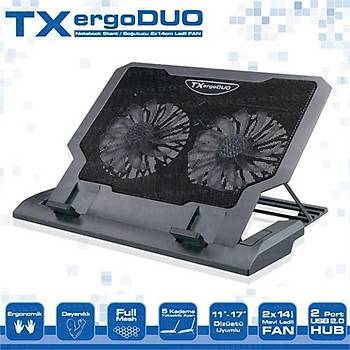 TX ErgoDUO Çift 14cm Mavi LED Fanlý Notebook Laptop Soðutucu