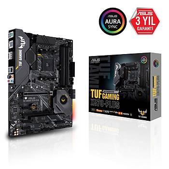 ASUS TUF GAMING X570-PLUS AMD X570 AM4 DP HDMI ÇÝFT M2 + 6 SATA USB 3.2 AURA RGB ATX 128GB'A KADAR RAM DESTEÐÝ