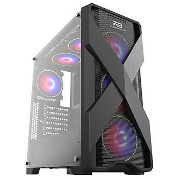 PowerBoost VK-E03C USB 3.0 ATX Mesh Ring Rainbow Fan Siyah Kasa (PSU Yok)