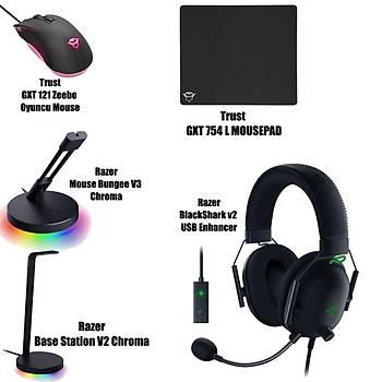 Razer BlackShark v2 USB Enhancer + Trust GXT 754 L Mousepad + Razer Base Station V2 Chroma + Mouse Bungee V3 Chroma  + Trust GXT 121 Zeebo Oyuncu Mouse Bundle