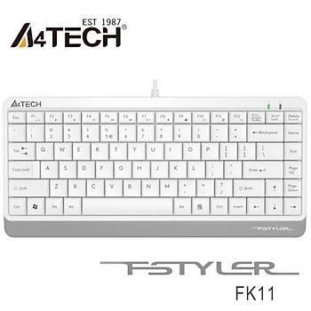 A4 Tech FK11 Q USB Kablolu MM Mini Klavye Beyaz