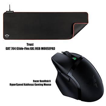 Razer Basilisk X HyperSpeed Kablosuz Gaming Mouse + Trust GXT 764 Glide - Flex XXL RGB Mousepad