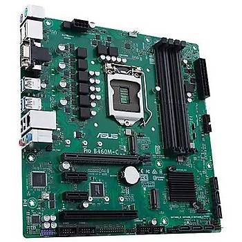 ASUS PRO B460M-C/CSM Intel B460 LGA1200 DDR4 2933 DP HDMIVGA Çift M2 USB3.2 PCI mATX Ücretsiz Uzaktan Yönetim Yazýlýmý 64GB Ram Des