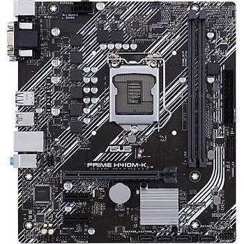ASUS PRIME H410M-K Intel H410 LGA1200 DDR4 2933 DVI VGA USB3.2 mATX 64GB Ram Desteði
