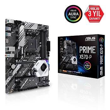 ASUS PRIME X570-P AMD X570 AM4 HDMI ÇÝFT M2 + 6 SATA USB 3.2 AURA RGB ATX 128GB'A KADAR RAM DESTEÐÝ