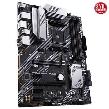 ASUS PRIME B550-PLUS AMD B550 AM4 DDR4 4400 DPHDMI Çift M2 USB3.2 ARGB ATX PCIe 4.0 ECC RAM Desteði