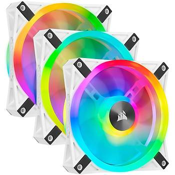 CORSAIR CO-9050104-WW QL120 RGB 120 MM DORT RGB RENK DONGULU BEYAZ PWM FAN LIGHTING NODE CORE KONTROLCU ILE BIRLIKTE 3 LU PAKET