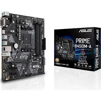 Asus Prime B450m-A Amd B450 Am4 Ddr4 4400 Hdmý Dvi Vga M2 Usb3.1 Matx