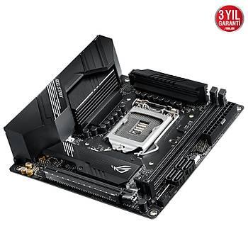 ASUS ROG STRIX H470-I GAMING Intel H470 LGA1200 DDR4 2933 DP HDMI Çift M2 USB3.2 AX WiFi + BT AURA RGB 2xLAN Mini ITX Konsol Boyutun
