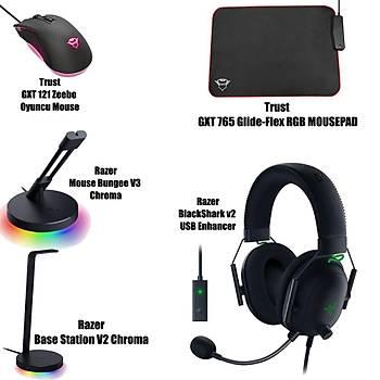 Razer BlackShark v2 USB Enhancer + Trust GXT 765 Glide-Flex RGB Mousepad + Razer Base Station V2 Chroma + Mouse Bungee V3 Chroma  + Trust GXT 121 Zeebo Oyuncu Mouse Bundle