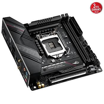 ASUS ROG STRIX B560-I GAMING WIFI Intel B560 LGA1200 DDR4 5333 DP HDMI 2x M2 USB3.2 AX WiFi + BT AURA RGB 2.5Gb Mini-ITX Ýki Yönlü AI Ses Engelleyici Mic.