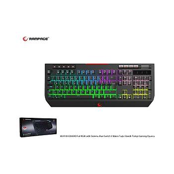 Rampage KB-R105 EXHERO Full RGB Ledli Outemu Blue Switch 5 Makro Tuþlu Gaming Klavye