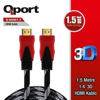 Qport Q-HDMI1 1.5M Altýn Uçlu HDMI Kablo