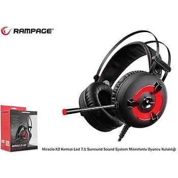 Rampage Miracle X2 Kýrmýzý 7.1 Mikrofonlu Oyuncu Kulaklýðý