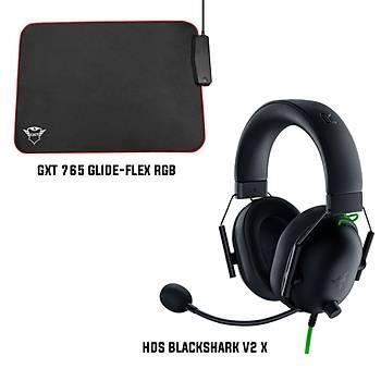 Razer Blackshark v2 X + Trust GXT765 Glide-Flex RGB Mousepad Bundle