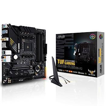 ASUS TUF GAMING B550M-PLUS (WI-FI) AMD B550 AM4 DDR4 4400 DPHDMI Çift M2 USB3.2 AX WiFi + BT ARGB 2.5Gbit LAN mATX PCIe 4.0 ECC RAM Desteði