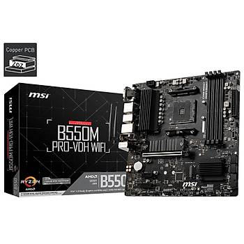 MSI B550M PRO-VDH WIFI AM4 DDR4 4400(OC) HDMI DVG VGA M.2 USB3.2 WIFI MATX