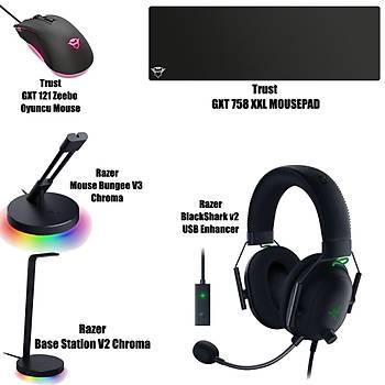 Razer BlackShark v2 USB Enhancer + Trust GXT 758 XXL Mousepad + Razer Base Station V2 Chroma + Mouse Bungee V3 Chroma  + Trust GXT 121 Zeebo Oyuncu Mouse Bundle
