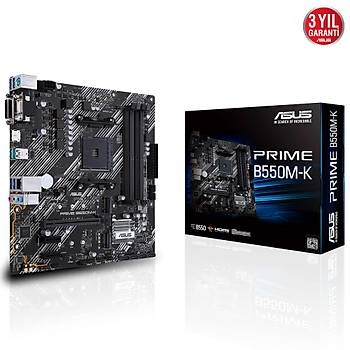 ASUS PRIME B550M-K AMD B550 AM4 DDR4 4400 HDMI DVI VGA Çift M2 USB3.2 mATX PCIe 4.0 ECC RAM Desteði