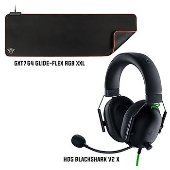 Razer Blackshark v2 X + Trust GXT764 Glide-Flex RGB XXL Mousepad Bundle