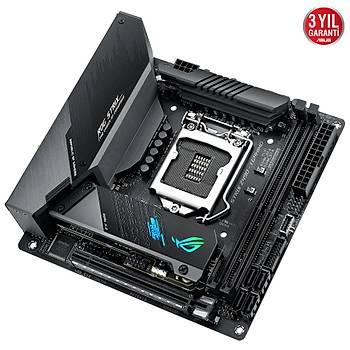 ASUS ROG STRIX Z490-I GAMING Intel Z490 LGA1200 DDR4 4800 DP HDMI Çift M2 USB3.2 AX WiFi + BT AURA RGB 2.5Gbit LAN Mini ITX Armoury Crate, RAMCache III, AI Overclocking