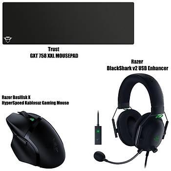 Razer Basilisk X HyperSpeed Kablosuz Gaming Mouse + Razer BlackShark v2 USB Enhancer + Trust GXT 758  XXL Mousepad