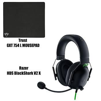 Razer Blackshark v2 X + Trust GXT754 Gaming Mousepad Bundle