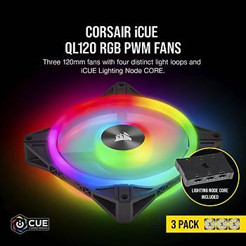 CORSAIR CO-9050098-WW ICUE QL120 RGB 120 MM DORT RGB RENK DONGULU PWM FAN LIGHTING NODE CORE KONTROLCU ILE BIRLIKTE 3 LU PAKET