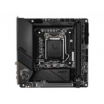 MSI MEG Z490I UNIFY SOKET 1200 DDR4 4800 (OC) PCI-E Gen 4 M.2 USB3.2 1x 2.5G LAN Wi-Fi 6 MINI ITX