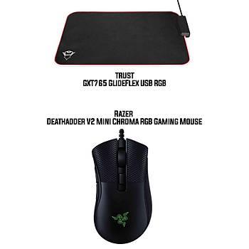 Razer Deathadder V2 Mini Chroma RGB Gaming Mouse +  Trust GXT 765 Glide-Flex RGB Mouse Pad with USB Hub