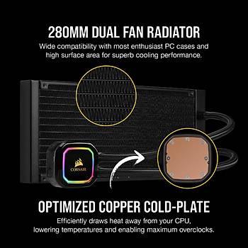 CORSAIR CW-9060044-WW ICUE H115I RGB PRO XT 280 MM SIVI ISLEMCI SOGUTUCU (INTEL 1200 1150 1151 1155 1156 1366 2011 2066 / AMD AM4 AM