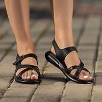 LORÝNSER Erta Kemerli Poli Taban Siyah Cilt Sandalet