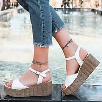 LORÝNSER Madix Poli Taban Beyaz Cilt Dolgu Topuk Sandalet