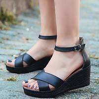 LORÝNSER Ertu Siyah Cilt Siyah Dolgu Topuk Sandalet