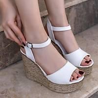 LORÝNSER Loya Poli Taban Beyaz Cilt Dolgu Topuk Sandalet