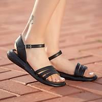 LORÝNSER Ermi Pad'li Ýç Taban Siyah Cilt Sandalet