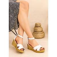 LORÝNSER Ertu Cilt Beyaz Cilt Dolgu Topuk Sandalet