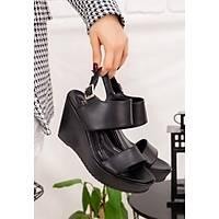 LORÝNSER Rvin Poli Taban Siyah Cilt Dolgu Topuk Sandalet