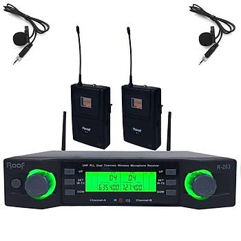 ROOF R 203 Y-Y Çift Yaka Telsiz Mikrofon Seti