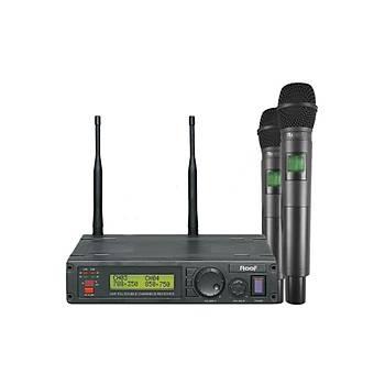 Roof R1200EE EL Tipi Çiftli Telsiz Kablosuz Mikrofon