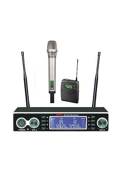 Mickle U1502EY EL ve Yaka ikili UHF Telsiz Kablosuz Mikrofon
