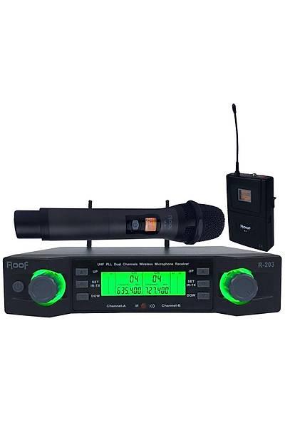 Roof R-203 1 El - 1 Yaka 2 Kanal UHF Kablosuz Telsiz Mikrofon