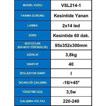 Arsel Versalite VSL214/1 LED Acil Aydýnlatma Armatürü  Kesintide 60 Dak. Yanan 2x500 Lümen