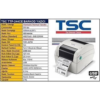 TSC TTP-244CE Termal Transfer Barkod Etiket Yazýcý