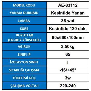 Royalite AE-83112 Acil Aydýnlatma Armatürü Kesintide 120 Dak. Yanan 36 watt