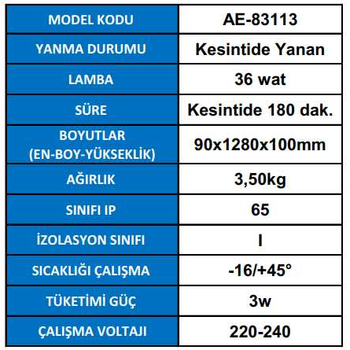 Royalite AE-83113 Acil Aydýnlatma Armatürü Kesintide 180 Dak. Yanan 36 Watt.