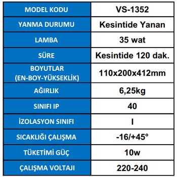 Versalite VS-1352 Tek Spot Acil Aydýnlatma Armatürü Kesintisinde 120 Dak. Yanan 35 Watt