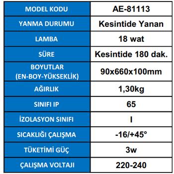 Royalite AE-81113 Acil Aydýnlatma Armatürü Kesintide 180 Dak. Yanan 18 Watt