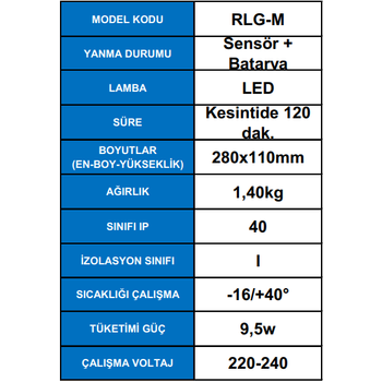 Desa RLG-M Sensörlü Acil Aydýnlatma Armatürü Kesintide 120 Dak. Yanan